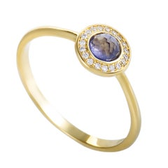 Lollipop 18 Karat Yellow Gold Diamond and Iolite Mini Round Ring