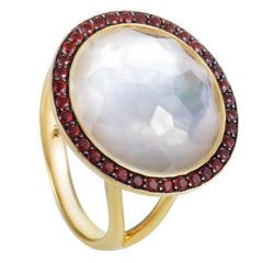 Lollipop 18 Karat Yellow Gold Garnet Quartz and Mother of Pearl Ring
