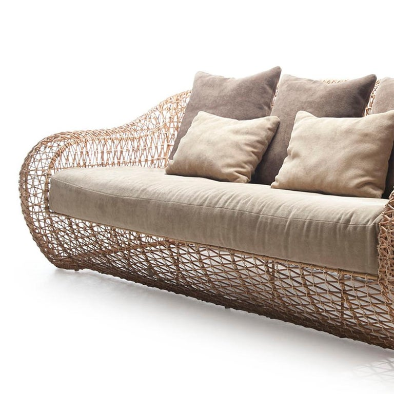 Sofa lombok Big Indoor or outdoor with structure in steel and natural rattan. With cushion seat and back included. Colors finish in taup, brown, or ocher. Measures: L227 x D105 x H75cm, seat height 42cm.  Price: 6900,00€. Lead time production