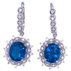 London Blue Topaz and Diamond Drop Earrings