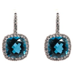 London Blue Topaz and Diamond White Gold Earrings