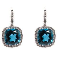 London Blue Topaz and Diamond White Gold Earrings