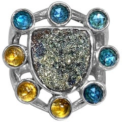 Stephen Dweck London Blue Topaz, Citrine Cabochons, and Druzy Cluster Ring