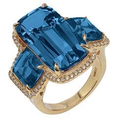 London Blue Topaz Cushion Ring with Diamonds