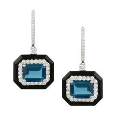 Art Deco Style Earrings  Blue Topaz, Diamond and Black Onyx in 18K White Gold