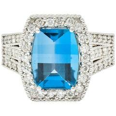 London Blue Topaz Diamond Halo 18 Karat White Gold Statement Ring
