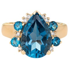 London Blue Topaz Diamond Ring Vintage 14 Karat Gold Pear Cut Estate Jewelry
