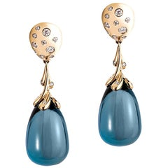 London Blue Topaz Drops Earring with Diamonds and Omega Clips