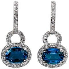 London Blue Topaz Earrings 2.97 Carat with Diamonds 0.41 Carat 14 Karat Gold