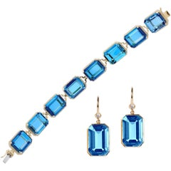 London Blue Topaz Emerald Cut Bracelet and Earrings with Diamonds