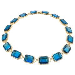 Goshwara Emerald Cut London Blue Topaz And Choker Necklace