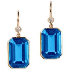 London Blue Topaz Emerald Cut Earrings with Diamond