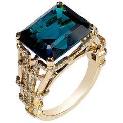 Goshwara Emerald Cut Indicolite And Diamond Ring