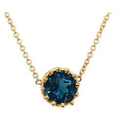 London Blue Topaz Gemstone Crown Pendant Necklace 14 Karat Gold Custom Design