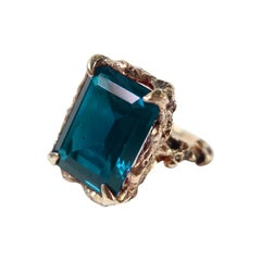 London Blue Topaz Gold Gothic Cocktail Ring