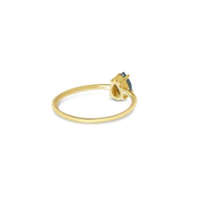 Artisan London Blue Topaz Gold Ring, Birthstone Ring, Engagement Ring, Teardrop Topaz  For Sale