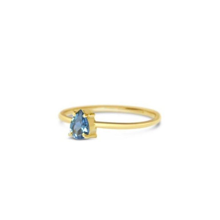 Oval Cut London Blue Topaz Gold Ring, Birthstone Ring, Engagement Ring, Teardrop Topaz  For Sale