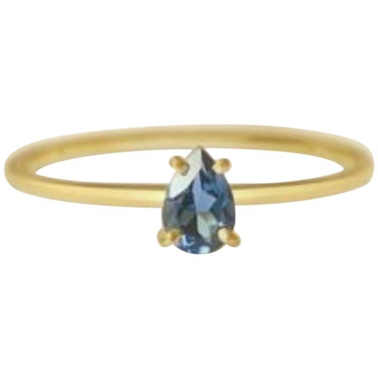 London Blue Topaz Gold Ring, Birthstone Ring, Engagement Ring, Teardrop Topaz For Sale