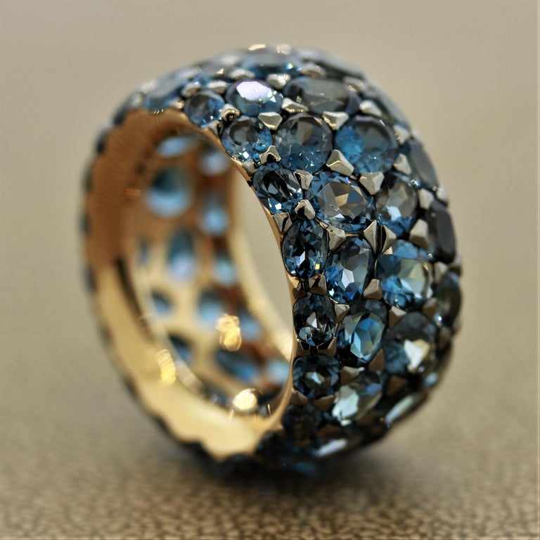 Oval Cut London Blue Topaz Gold Wide Eternity Band Ring For Sale