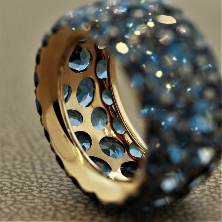 London Blue Topaz Gold Wide Eternity Band Ring In New Condition For Sale In Beverly Hills, CA