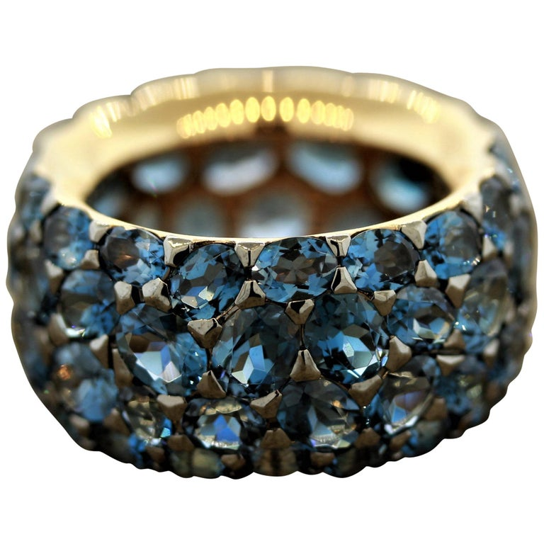 London Blue Topaz Gold Wide Eternity Band Ring For Sale