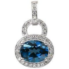 London Blue Topaz Pendant 3.09 Carat with Diamonds 0.31 Carat 14 Karat Gold