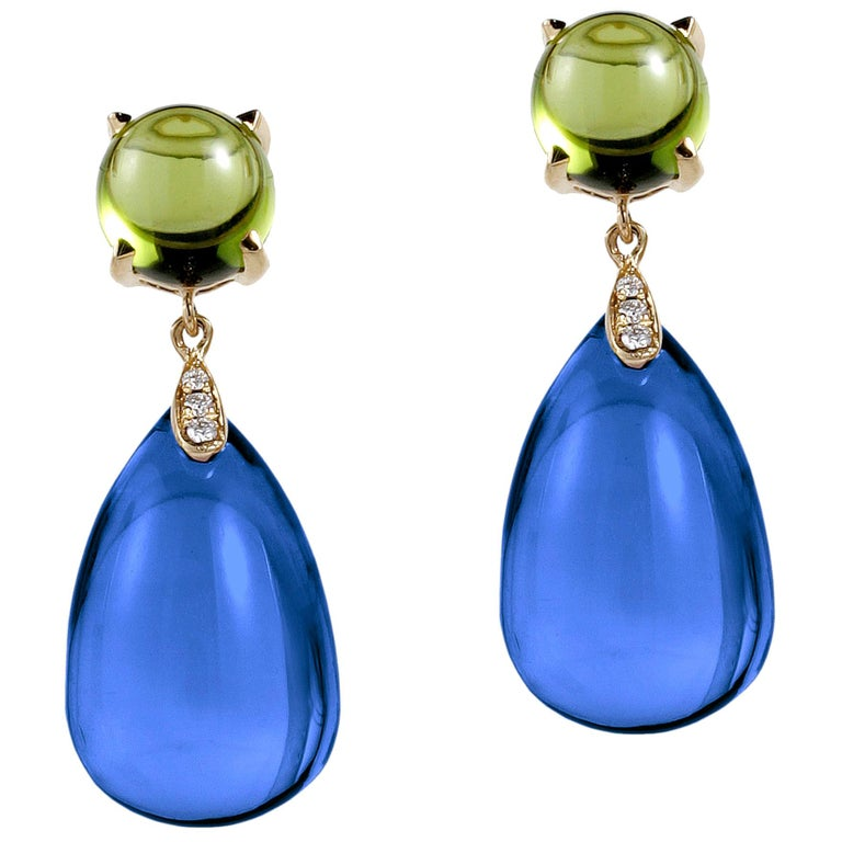 London Blue Topaz-Peridot Cabochon and Drop Earrings with Diamonds For Sale