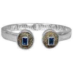 Stephen Dweck London Blue Topaz & Russian Druzy Open and Close Bangle