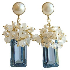 London Blue Topaz Seed Pearls Moonstone Cluster Earrings, Dione IX Earrings