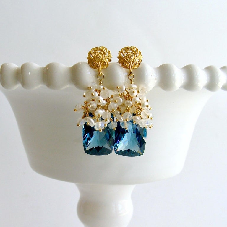 Artisan London Blue Topaz Seed Pearls Moonstone Cluster Earrings For Sale