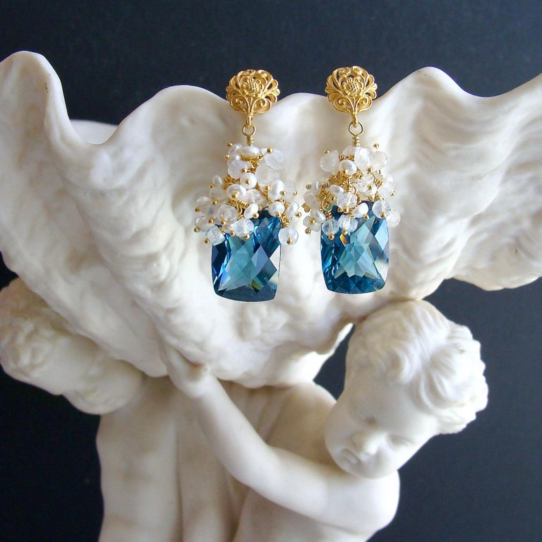 London Blue Topaz Seed Pearls Moonstone Cluster Earrings In New Condition For Sale In Scottsdale, AZ