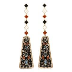 London Blue Topaz Studded Enamel Earrings in 14k Gold