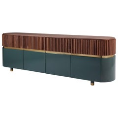 London Contemporary Sideboard in Solid Walnut and Brass Details