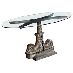London Embankment Cast Iron Sturgeon Table with Rotating Glass Top, circa 1980s