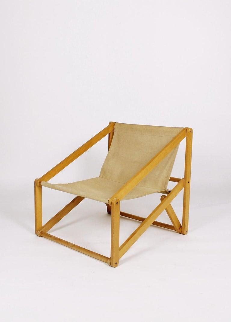 Stunning folding easy chair London by Günter Sulz, designed in 1971 Made by Behr & Sulz Stuttgart   beech wood frame, canvas cover    Neue Möbel, 1982, S. 47; Möbeldesigner Portraits Baden Württemberg, S. 115.  Bundespreis 'Gute Form',