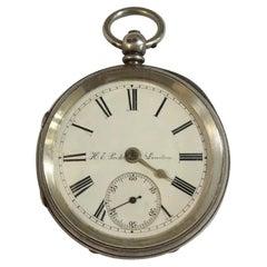 London Maker Antique Silver Pocket Watch by H.E Peck, 8 New Bridge St, London