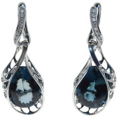 London Topaz Diamond 18 Karat White Gold Dangle Earrings