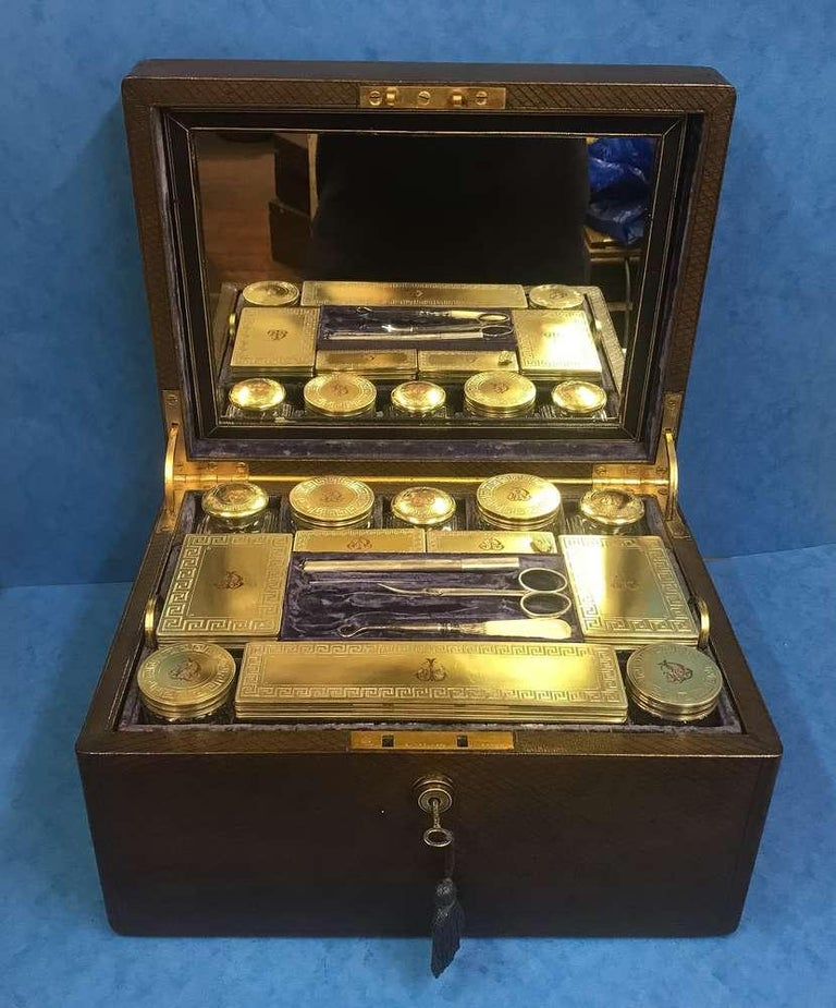 London Victorian 1863 Leather Vanity Box For Sale 6