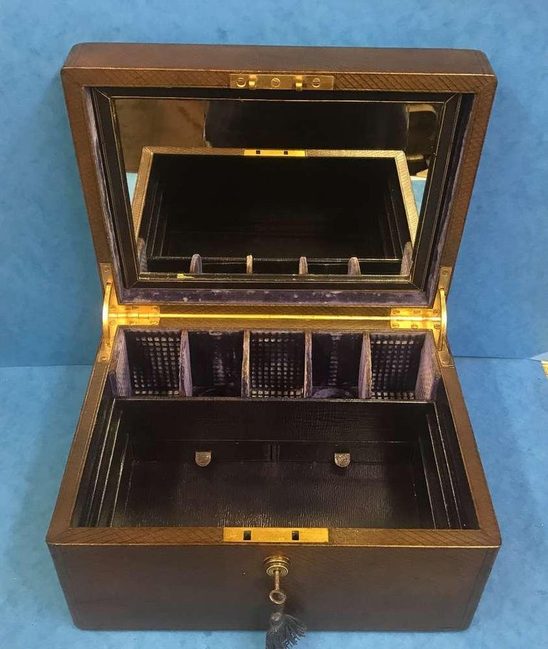 19th Century London Victorian 1863 Leather Vanity Box For Sale