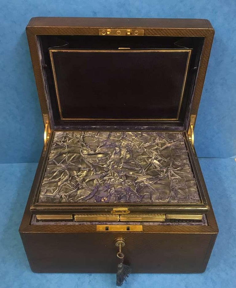 London Victorian 1863 Leather Vanity Box For Sale 2