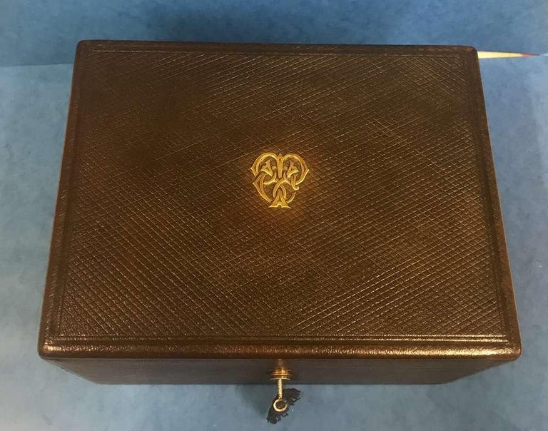 London Victorian 1863 Leather Vanity Box For Sale 3