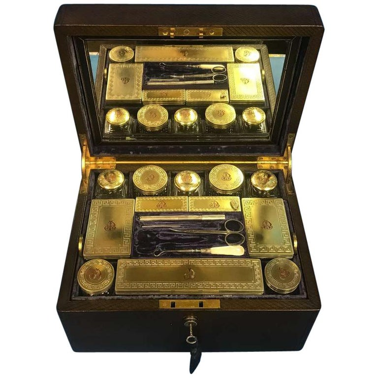 London Victorian 1863 Leather Vanity Box For Sale