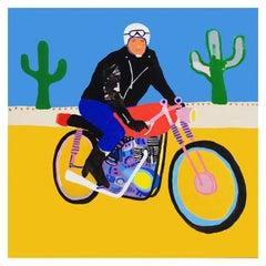 'Lone Wolf' Biker Portrait Painting by Alan Fears Pop Art