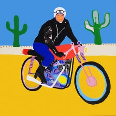 'Lone Wolf' Biker Portrait Painting by Alan Fears Pop Art