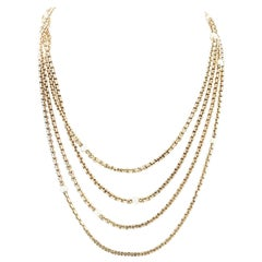 Long 19th Century French Gold and Pearl Necklace