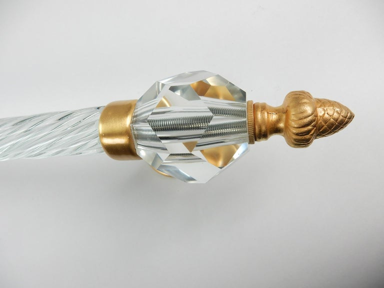 Baroque Revival Long 22-Karat Glass Towel Bar from Sherle Wagner Collection, circa 1960s For Sale