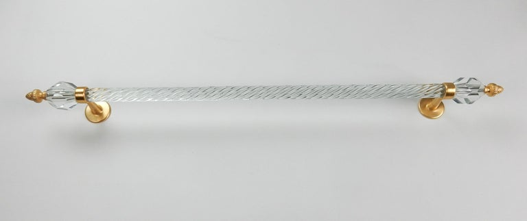 Long 22-Karat Glass Towel Bar from Sherle Wagner Collection, circa 1960s In Good Condition For Sale In Las Vegas, NV