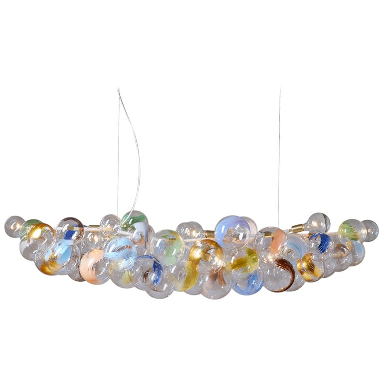 Long 80 Strokes Bubble Chandelier in Satin Brass and Natural Cotton by Pelle For Sale