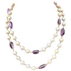 Long Amethyst and Freshwater Pearl Necklace