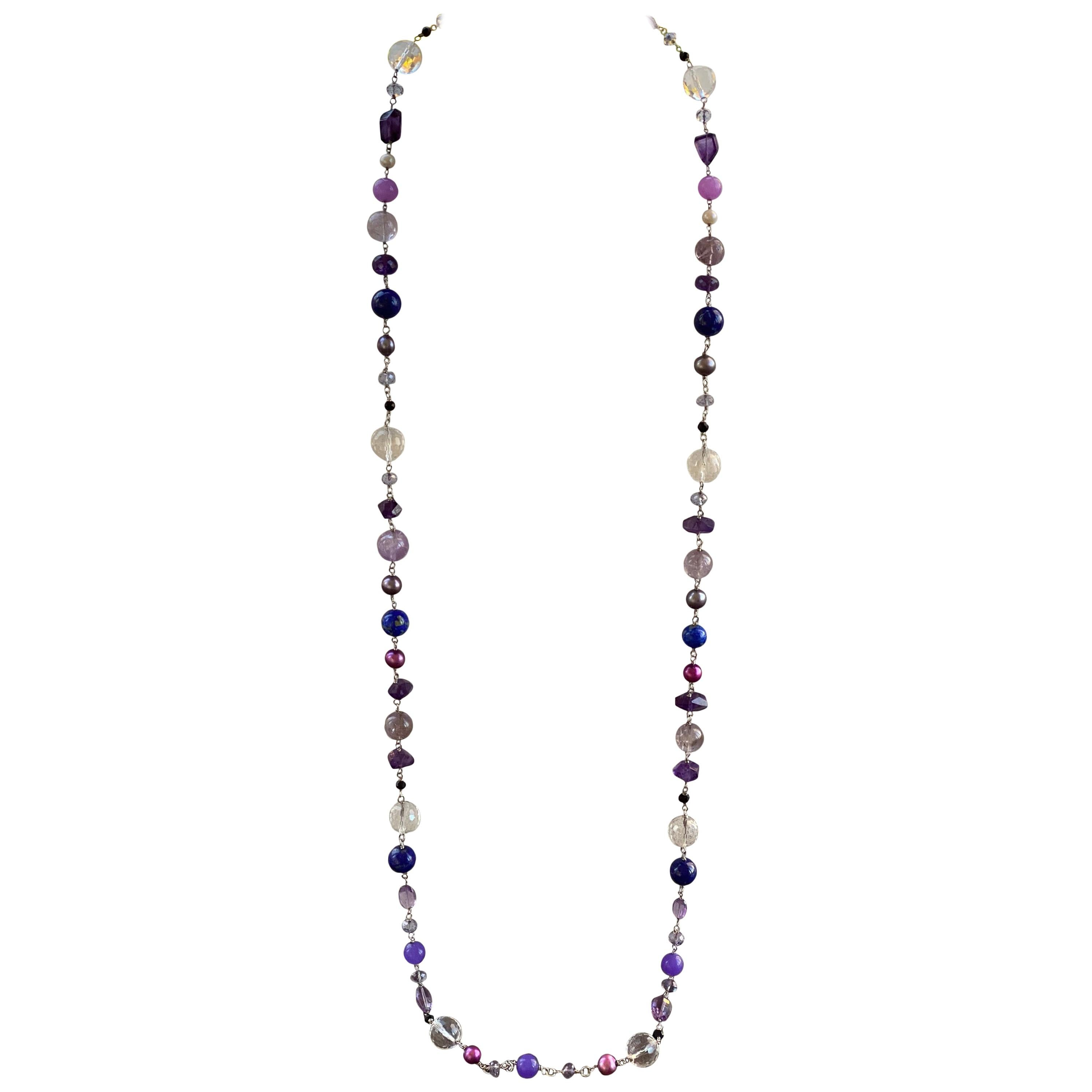 Amethyst Necklace,18 inch,Amethyst 6mm faceted beads,925 Silver clasp,statement necklace,necklace for women